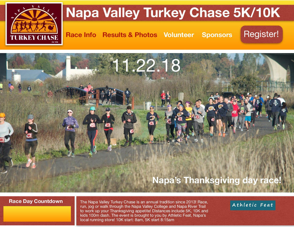 Athletic Feat presents the 2018 Napa Valley Turkey Chase on Thanksgiving morning